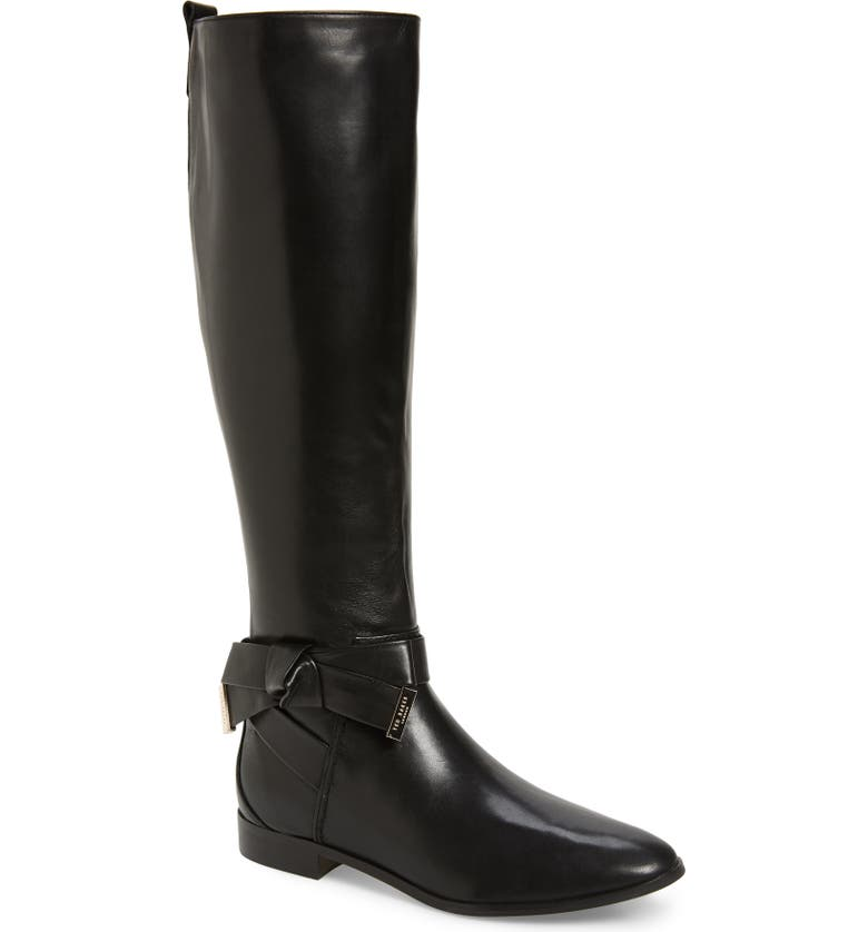 TED BAKER LONDON Sintial Knotted Strap Knee High Boot, Main, color, BLACK LEATHER