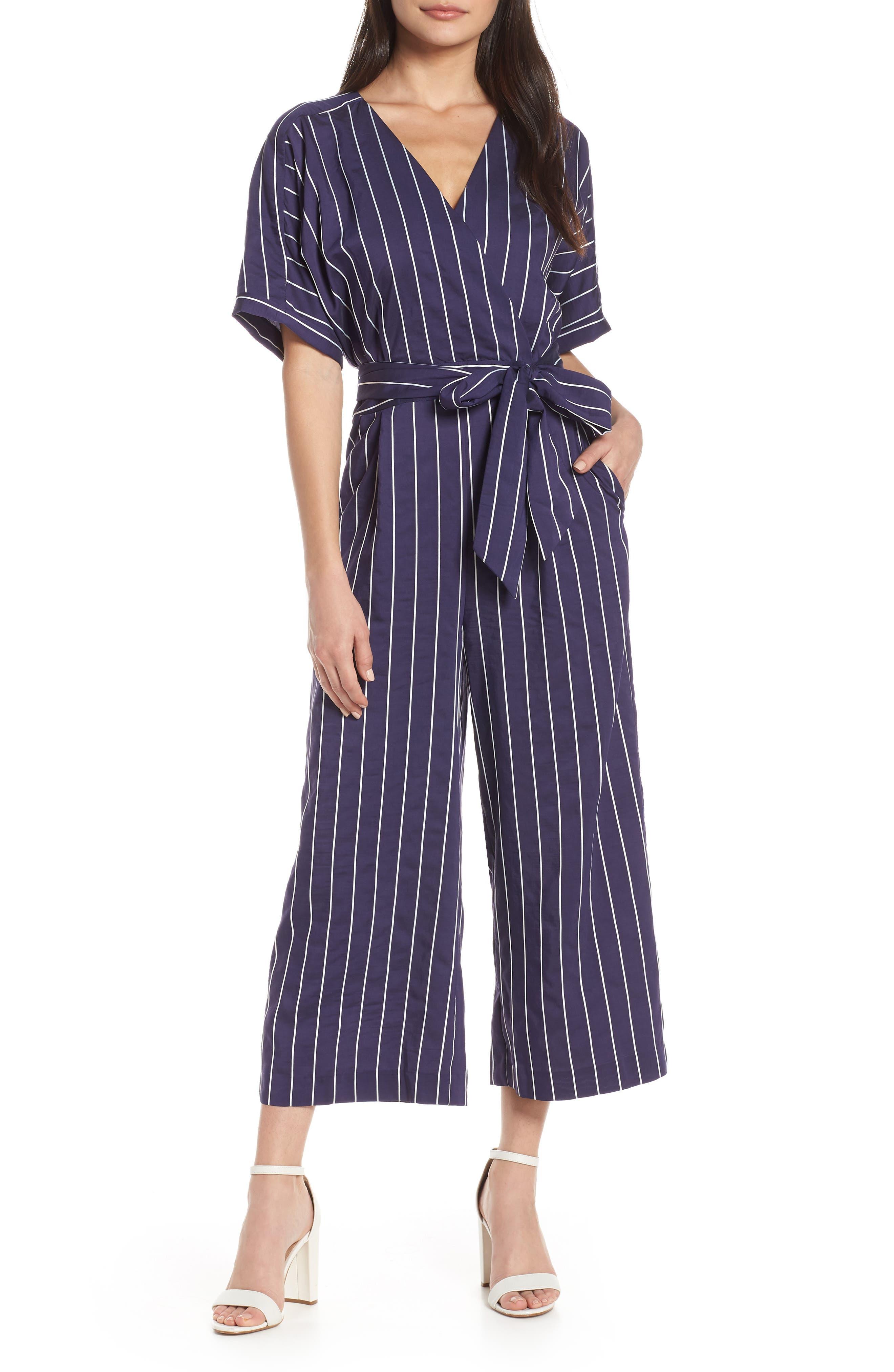 Stripe Jumpsuit, Main, color, NAVY