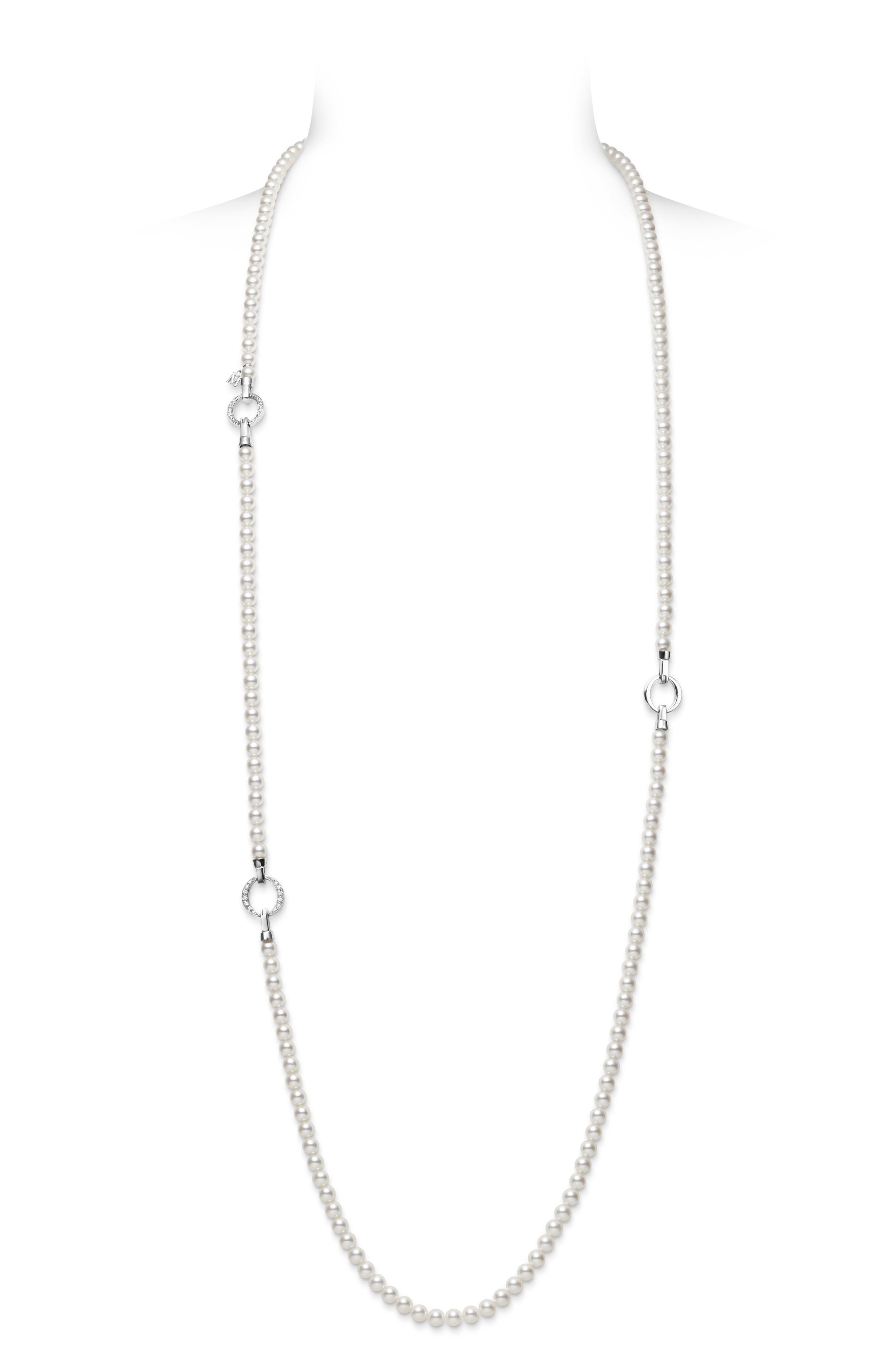 Cultured Pearl & Diamond Station Necklace