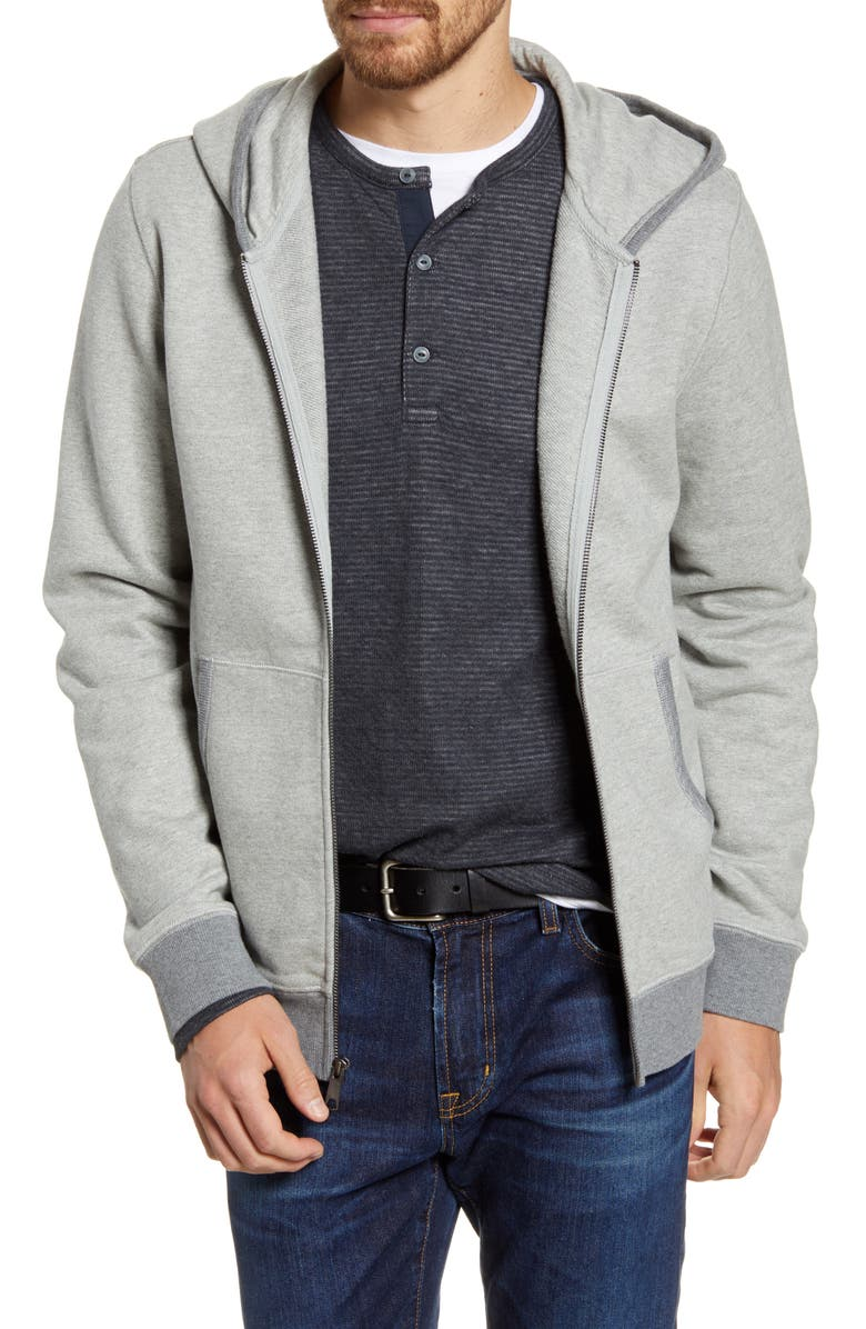 1901 French Terry Zip Hoodie, Main, color, GREY OIL HEATHER