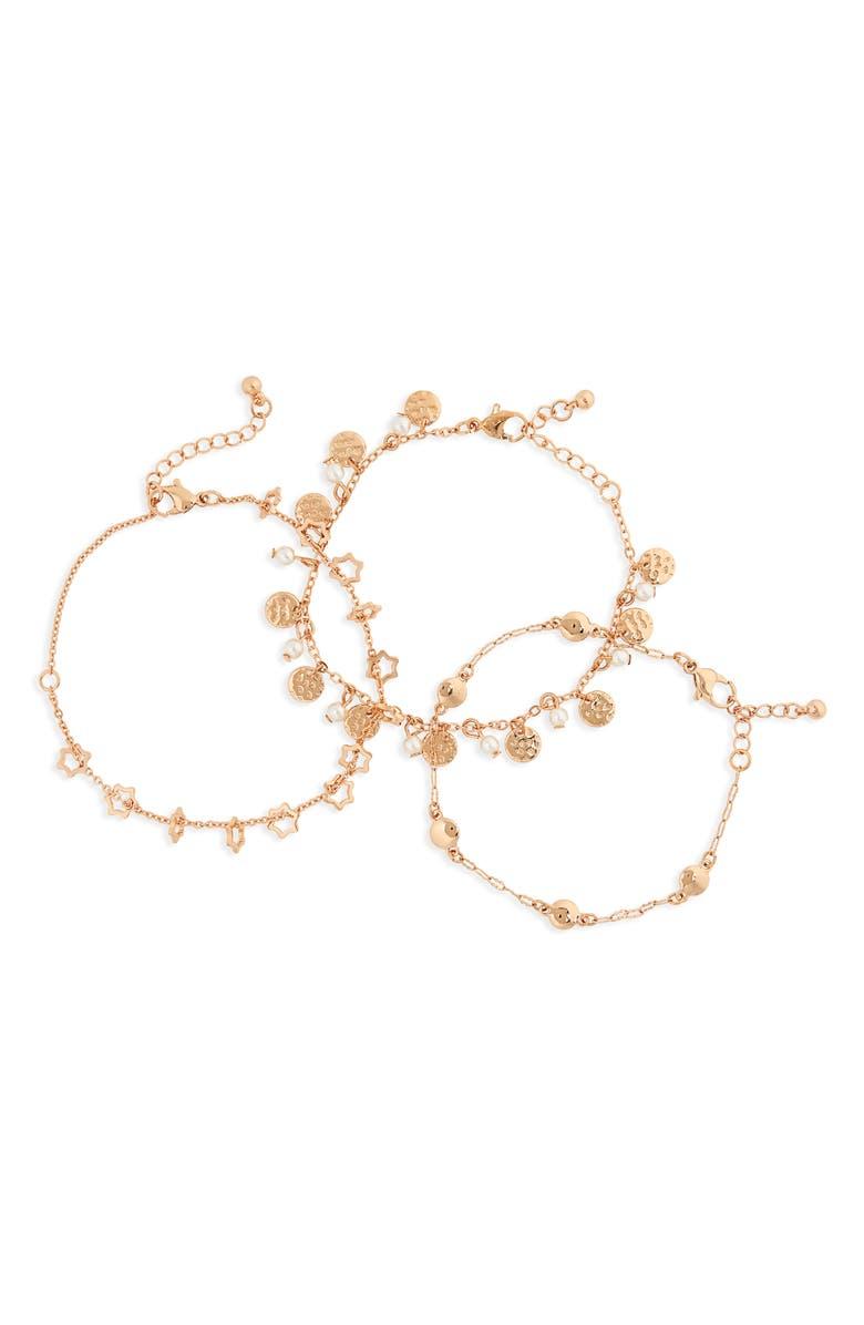 BP. Set of 3 Star Charm Bracelets, Main, color, 101