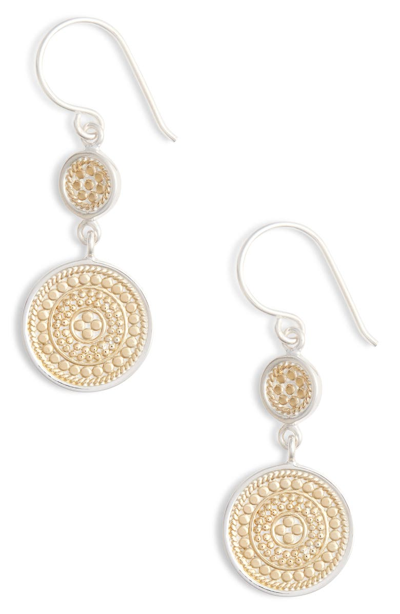 ANNA BECK Beaded Double Drop Earrings, Main, color, GOLD/ SILVER