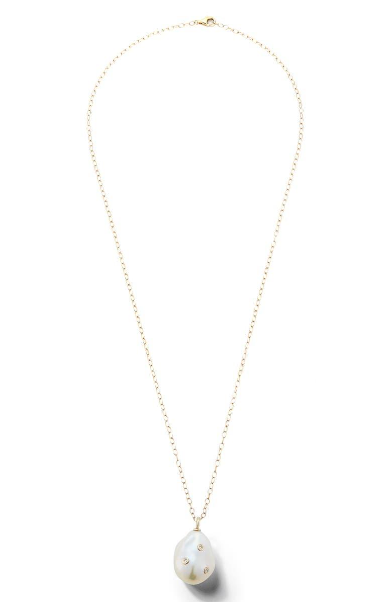 MIZUKI Baroque Pearl and Diamond Pendant Necklace, Main, color, YELLOW GOLD/ PEARL