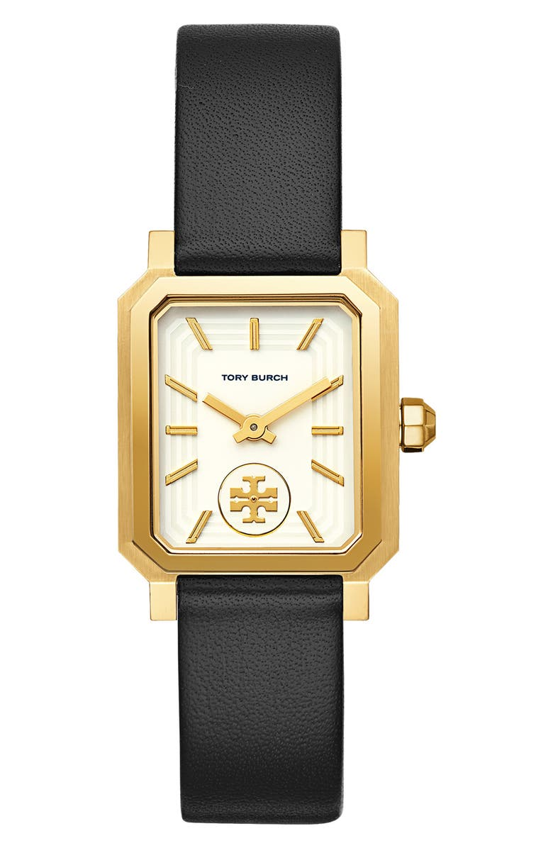 TORY BURCH Robinson Leather Strap Watch, 27mm x 29mm, Main, color, 001