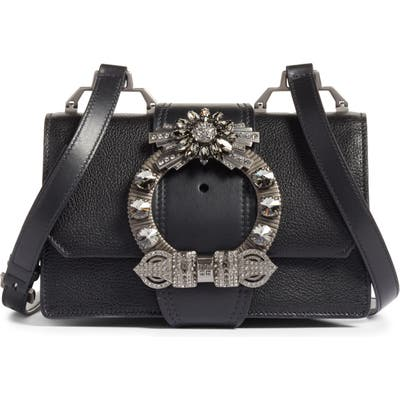 Miu Miu Madras Crystal Embellished Leather Shoulder Bag -