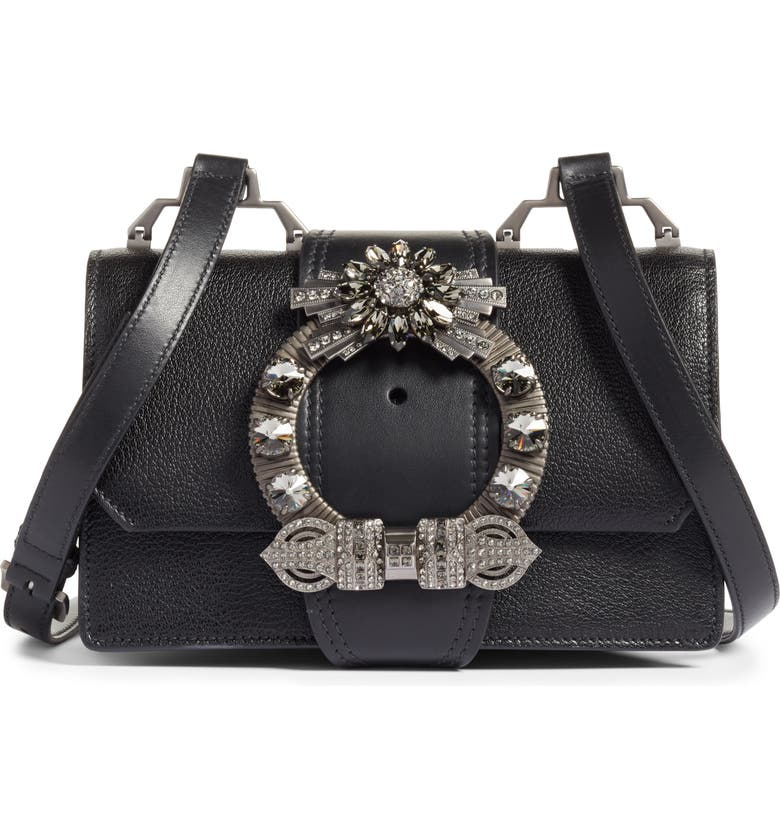 MIU MIU Madras Crystal Embellished Leather Shoulder Bag, Main, color, NERO