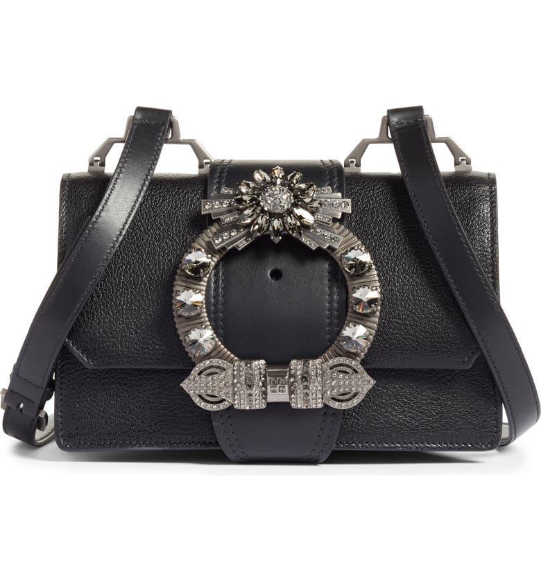 Miu Miu Madras Crystal Embellished Leather Shoulder Bag Regular Retail Price 2 100 00