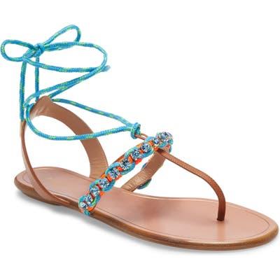 Aquazurra Braided Surf Lace-Up Sandal, Blue