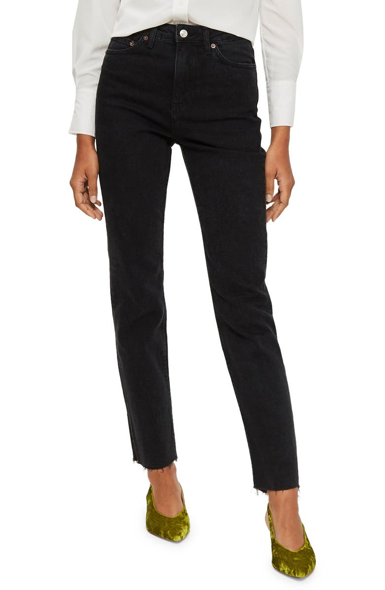 TOPSHOP Straight Leg Jeans, Main, color, BLACK