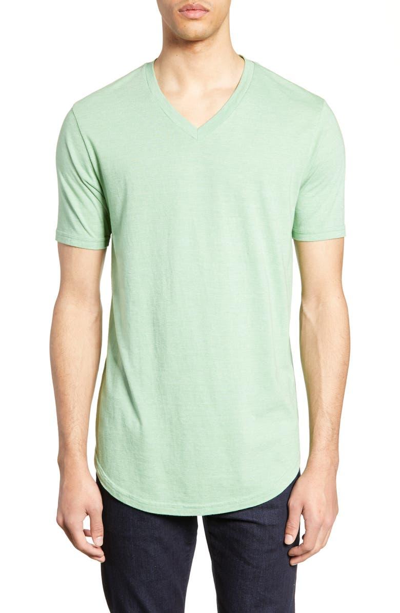 GOODLIFE Scallop Triblend V-Neck T-Shirt, Main, color, BASIL
