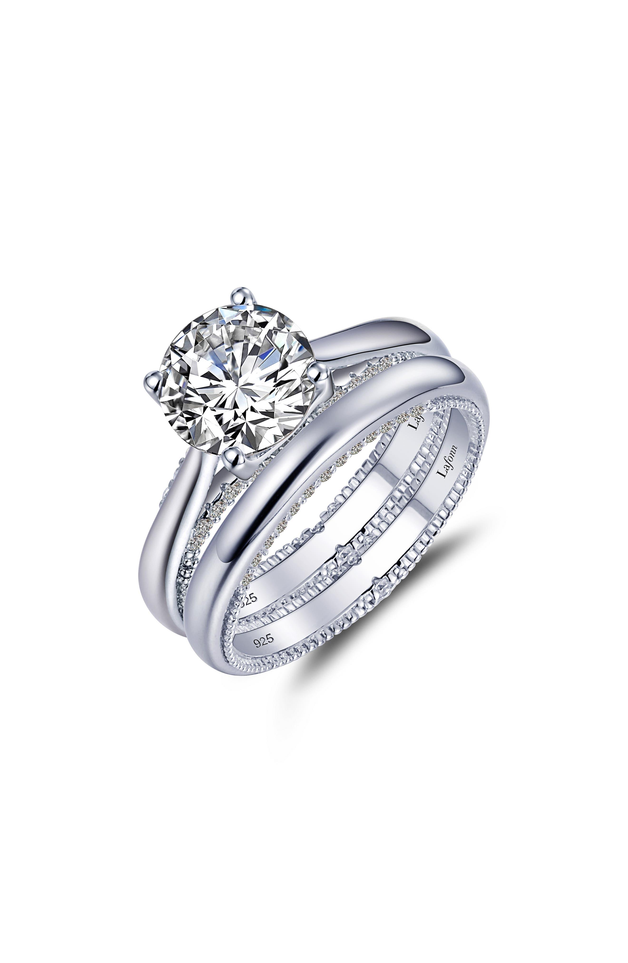 Solitaire Simulated Diamond Wedding Ring Set