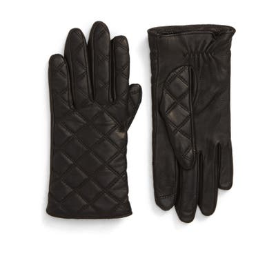 Nordstrom Quilted Leather Tech Gloves, Black