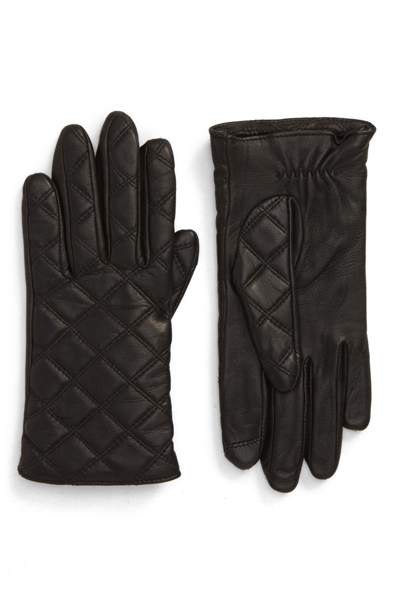 NORDSTROM Quilted Leather Tech Gloves, Main, color, BLACK