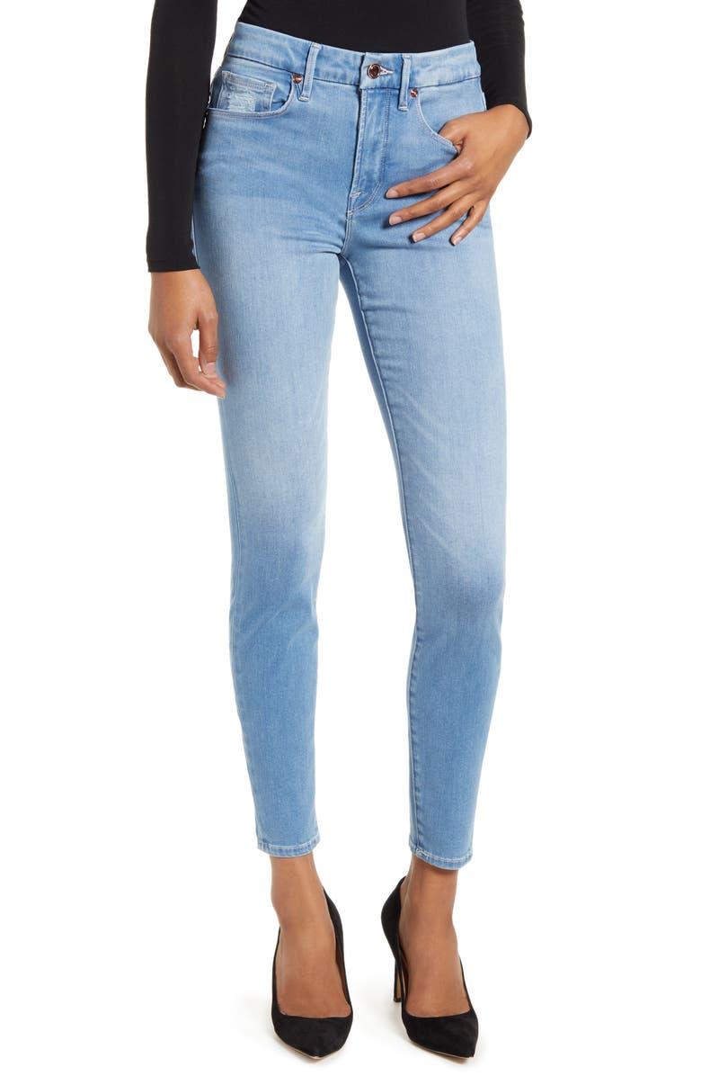 GOOD AMERICAN Good Legs High Waist Ankle Skinny Jeans, Main, color, BLUE343