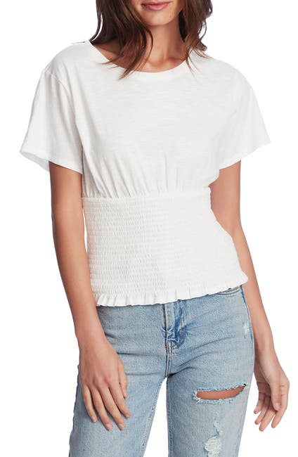 Image of 1.State Short Sleeve Smocked Waist Top