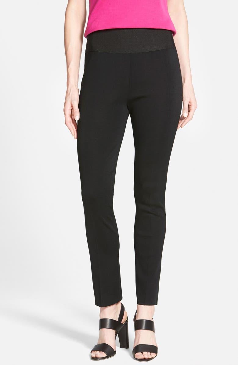 MING WANG Slim Knit Pants, Main, color, BLACK