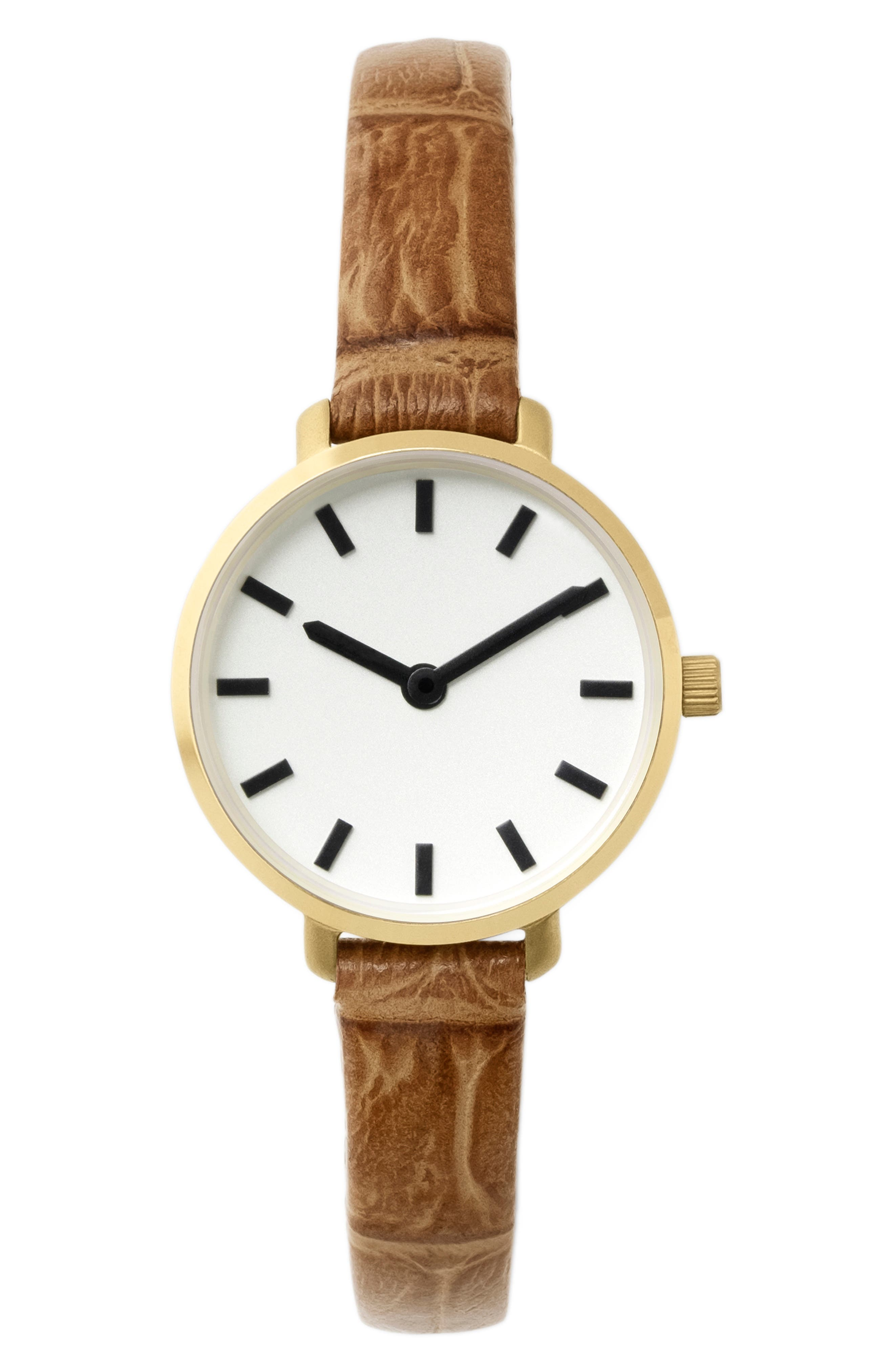 Beverly Faux-Crocodile Leather Strap Watch