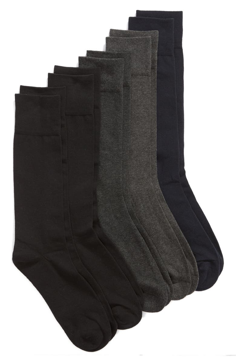 NORDSTROM MEN'S SHOP 5-Pack Cushion Foot Arch Support Socks, Main, color, 001