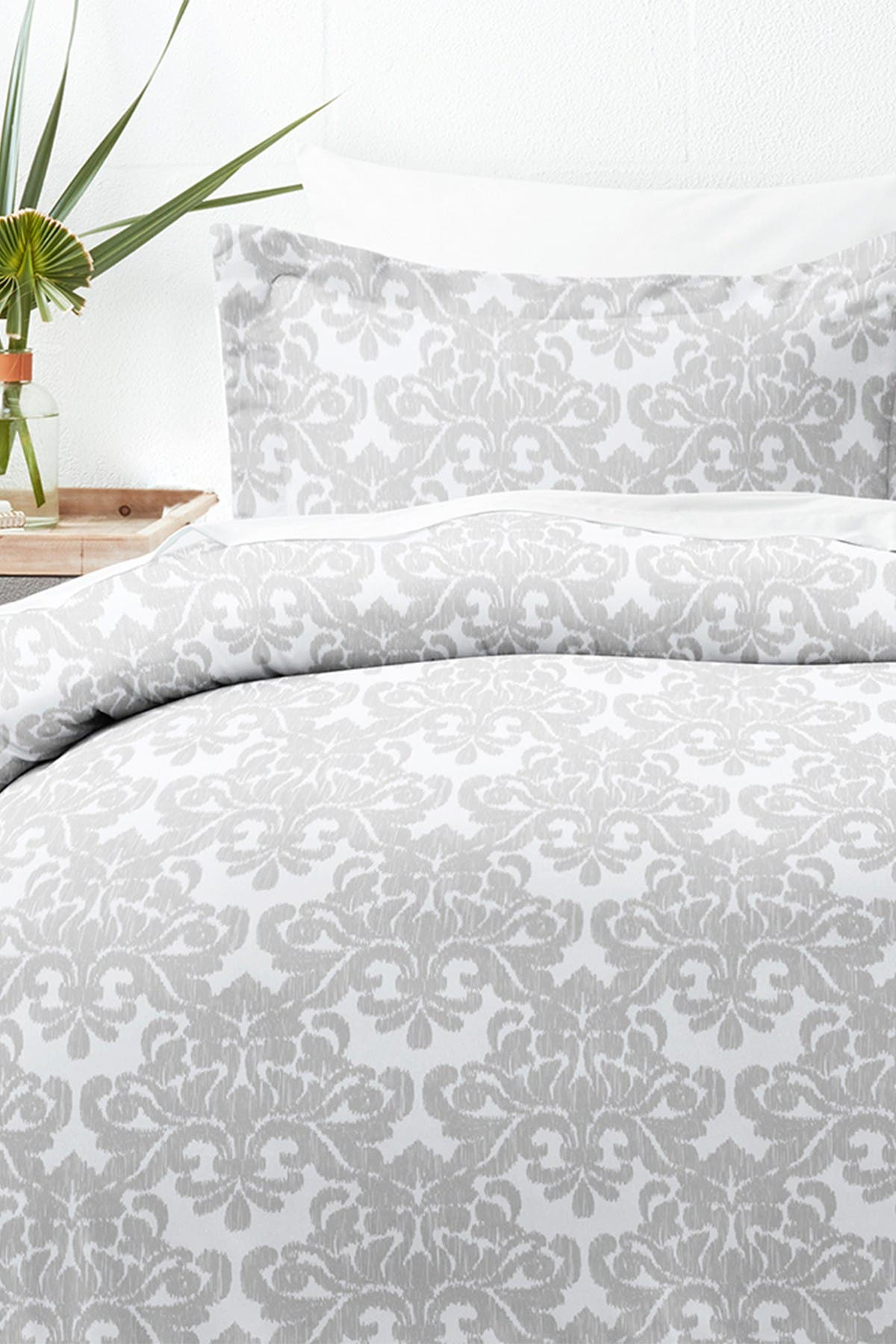 Ienjoy Home Home Collection Premium Ultra Soft Soft Damask Pattern 3-piece Duvet Cover Set In Light Gray
