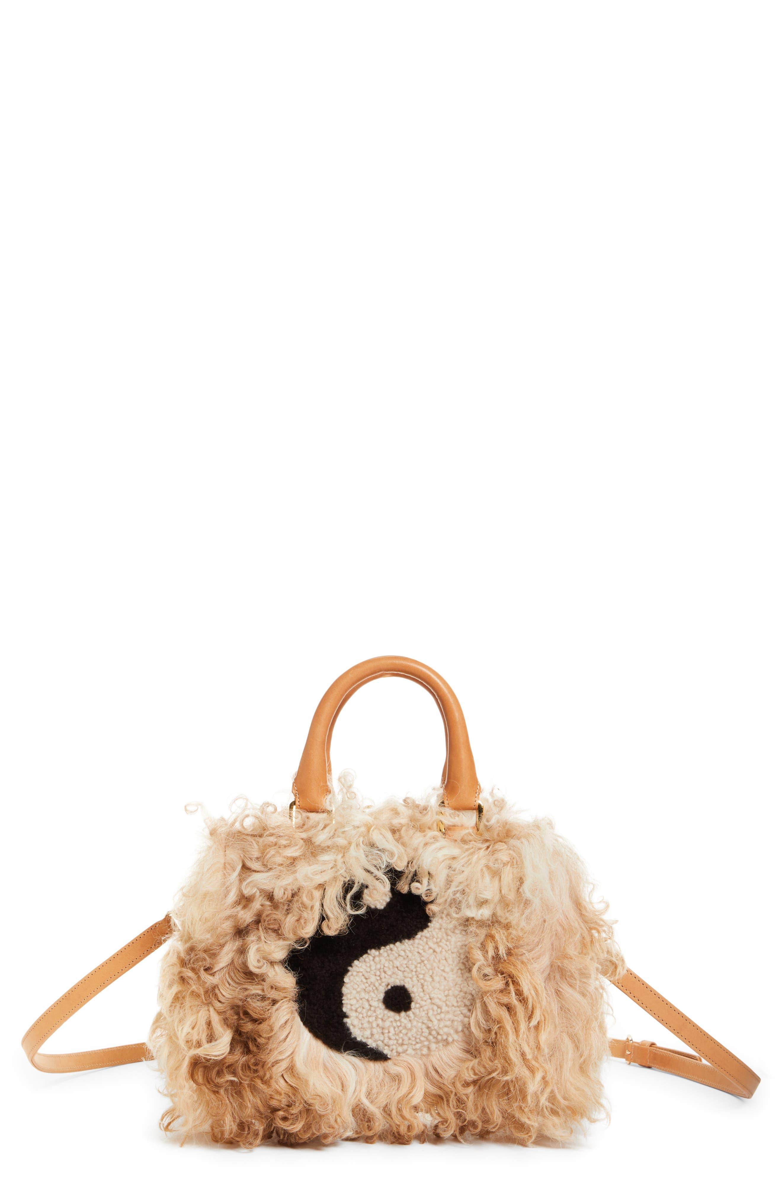 Mini Island Genuine Shearling Top Handle Bag