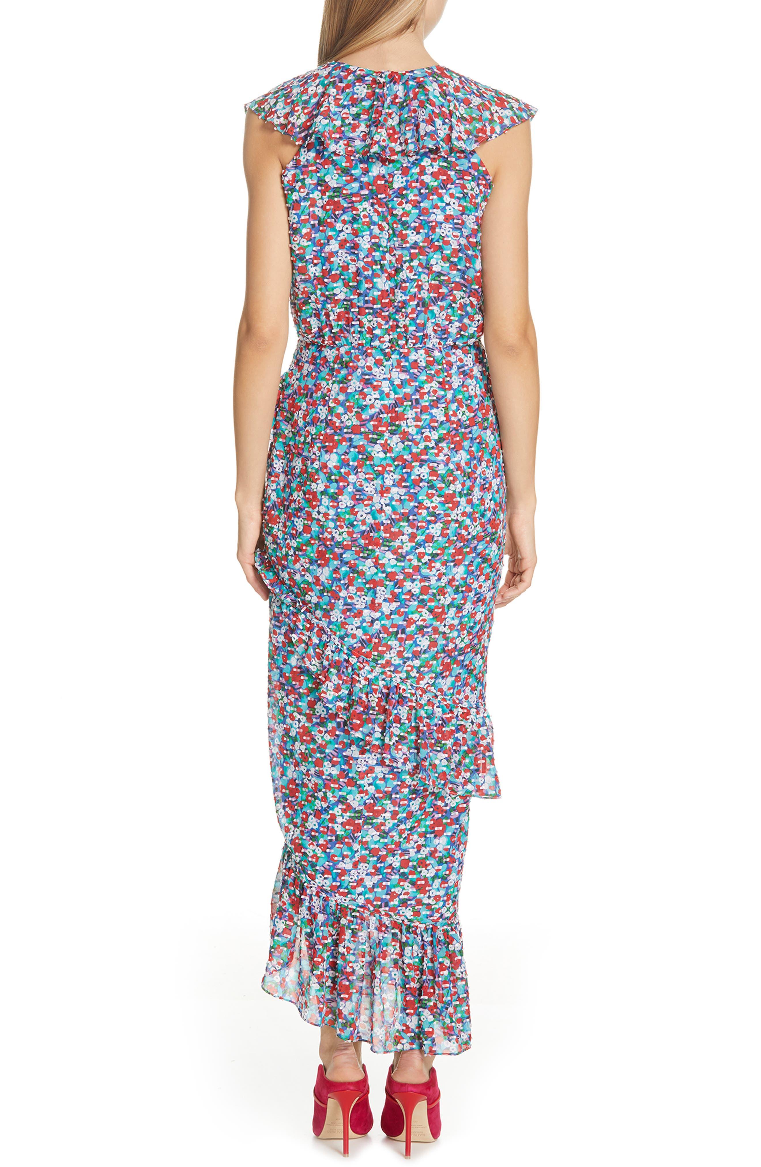 ,                             Anita Ruffle Trim Silk Burnout Dress,                             Alternate thumbnail 2, color,                             BLUE POPPYFIELD