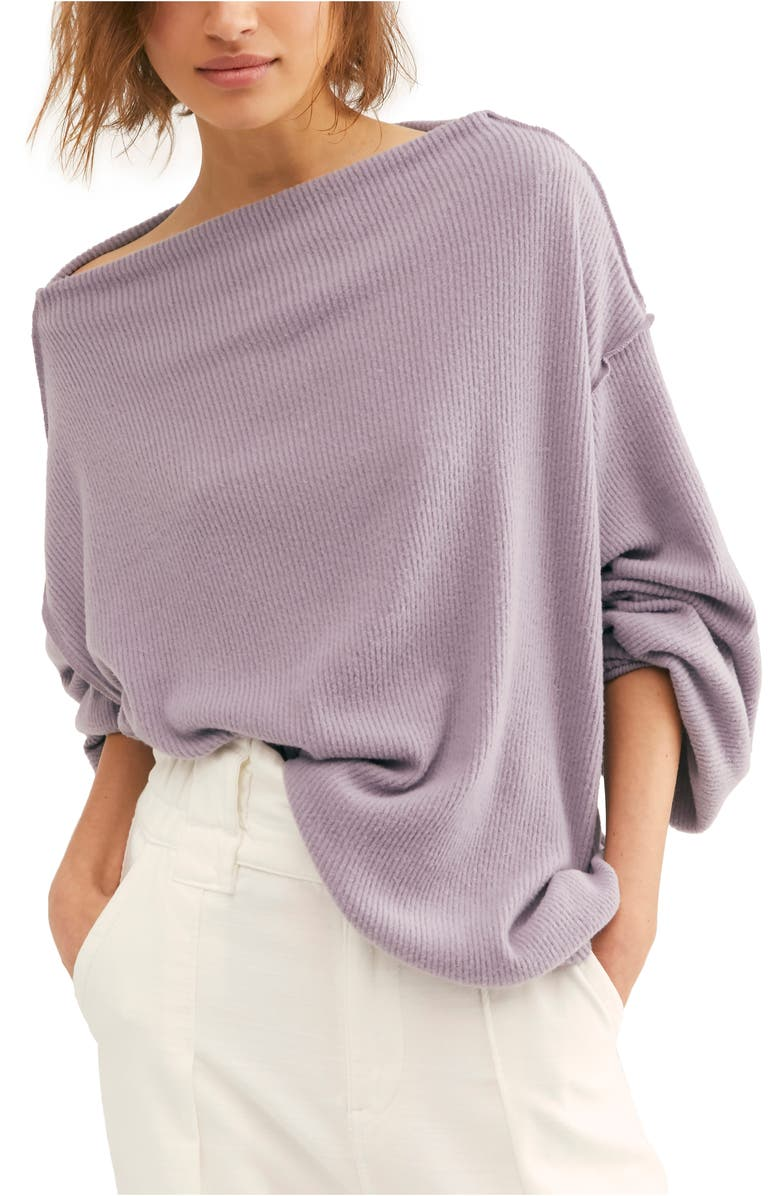 FREE PEOPLE Main Squeeze Hacci Sweater, Main, color, PURPLE SMOKE