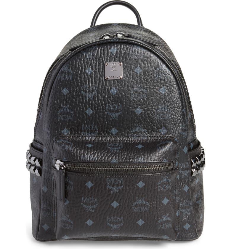 MCM Small Stark Side Stud Backpack, Main, color, BLACK