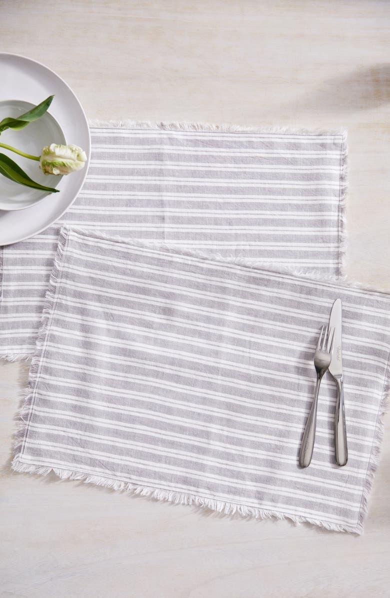 THE WHITE COMPANY Set of 2 Stripe Linen & Cotton Placemats, Main, color, 020