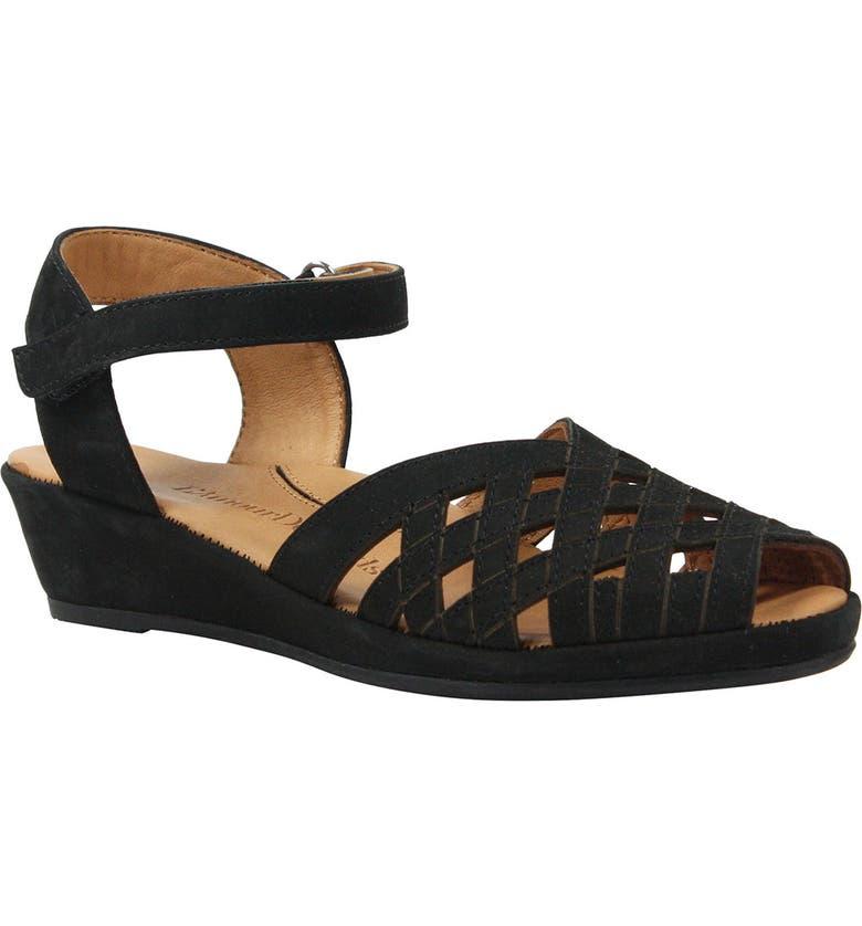 L'AMOUR DES PIEDS Burcie Wedge Sandal, Main, color, BLACK NUBUCK LEATHER