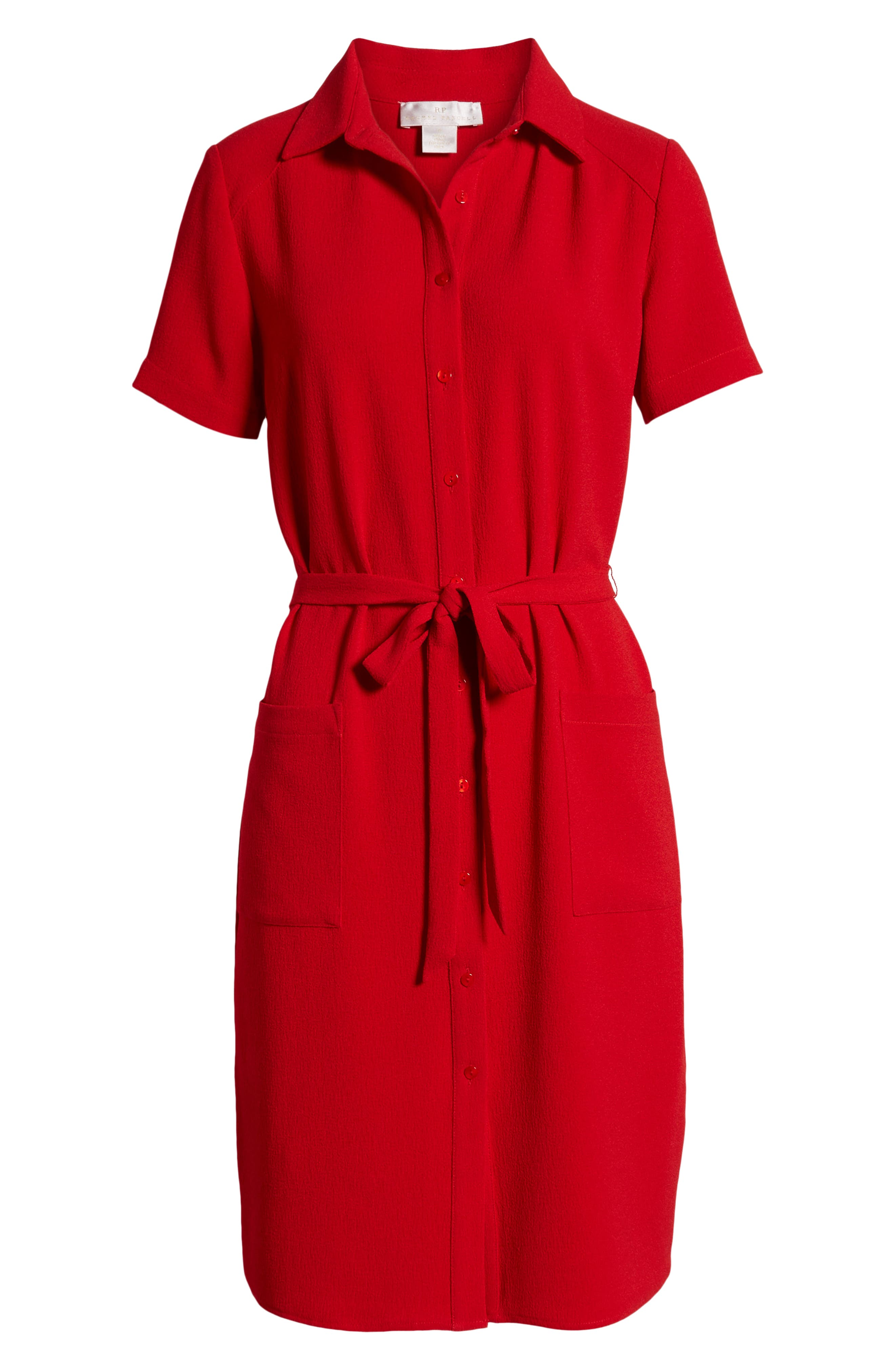 ,                             Everyday High/Low Shirt Dress,                             Alternate thumbnail 7, color,                             RED BARBADOS