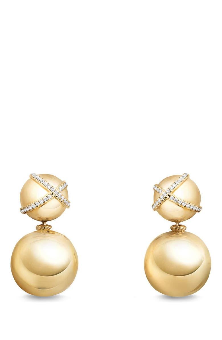DAVID YURMAN Solari Pavé Wrap Double Drop Earrings with Diamonds in 18K Gold, Main, color, YELLOW GOLD