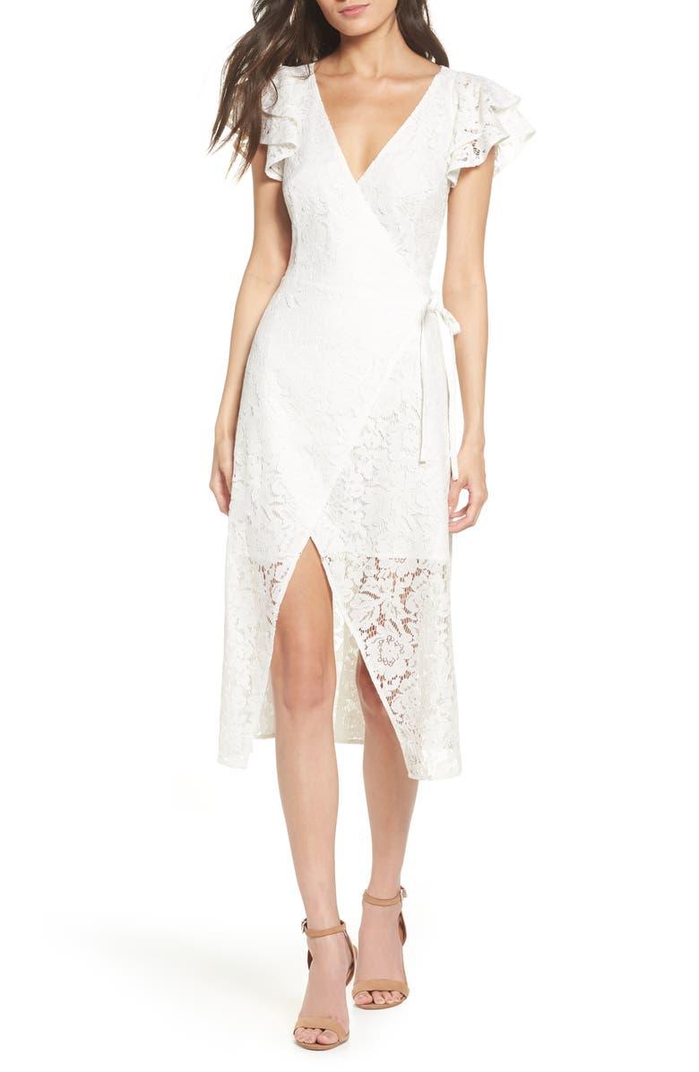 ALI & JAY Ruffle Sleeve Wrap Lace Midi Dress, Main, color, 100