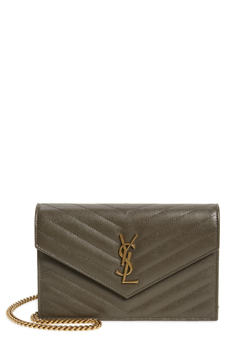 SAINT LAURENT Monogram Quilted Leather Wallet on a Chain, Main, color, PEBBLE