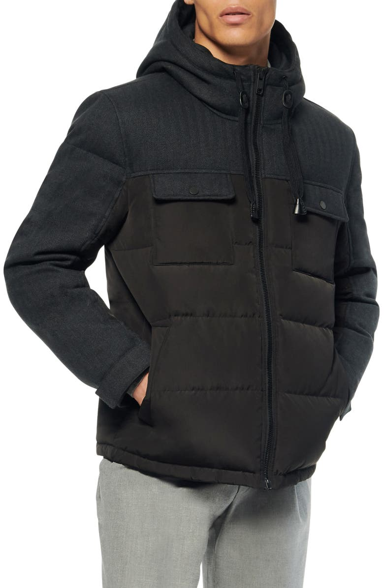 MARC NEW YORK Hopkins Quilted Down & Feather Fill Parka, Main, color, BLACK