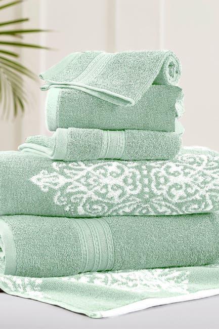 Image of Modern Threads Sage Artesia Damask Reversible Yarn-Dyed Jacquard 6-Piece Towel Set