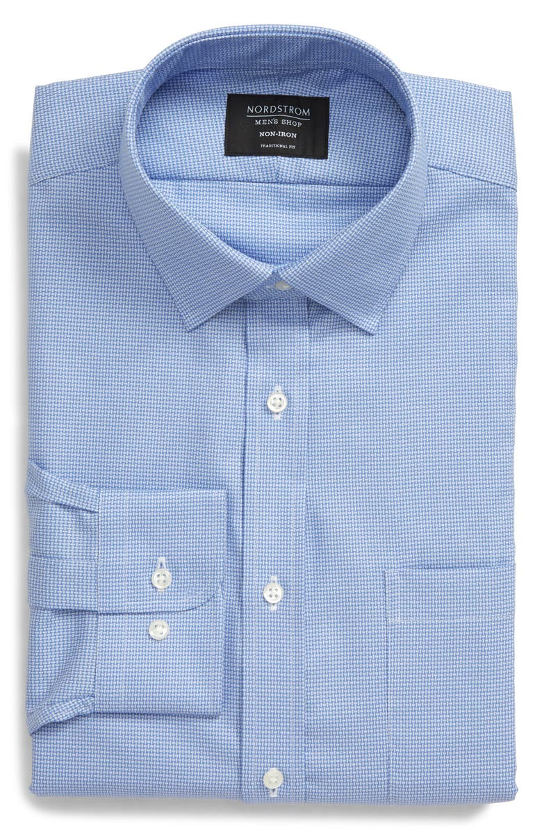 NORDSTROM Men's Shop Traditional Fit Non-Iron Basket Weave Dress Shirt, Main, color, BLUE FRENCH