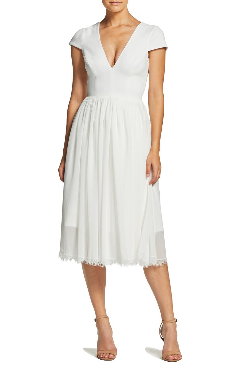 DRESS THE POPULATION Corey Chiffon Fit & Flare Cocktail Dress, Main, color, OFF WHITE