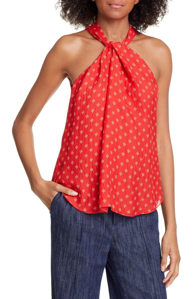 JOIE Lisie Twist Neck Silk Top, Main, color, TROPIC RED