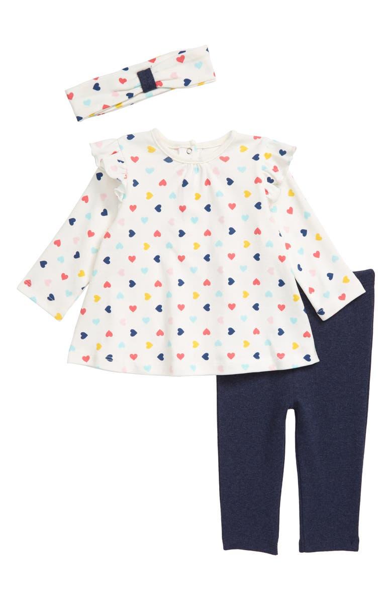 LITTLE ME Hearts Tunic, Leggings & Headband Set, Main, color, 159
