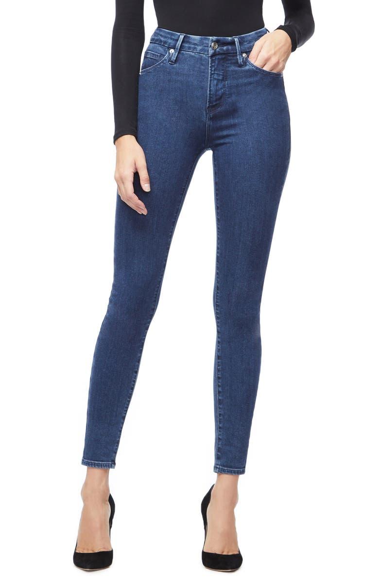 GOOD AMERICAN Good Waist High Waist Skinny Jeans, Main, color, BLUE205