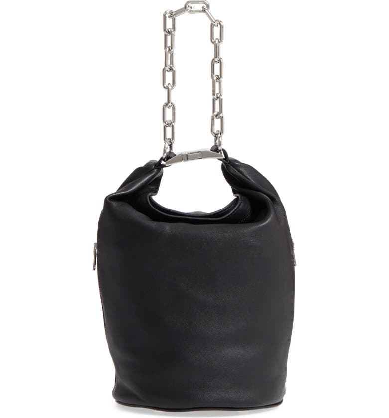 ALEXANDER WANG Attica Leather Bucket Bag, Main, color, BLACK