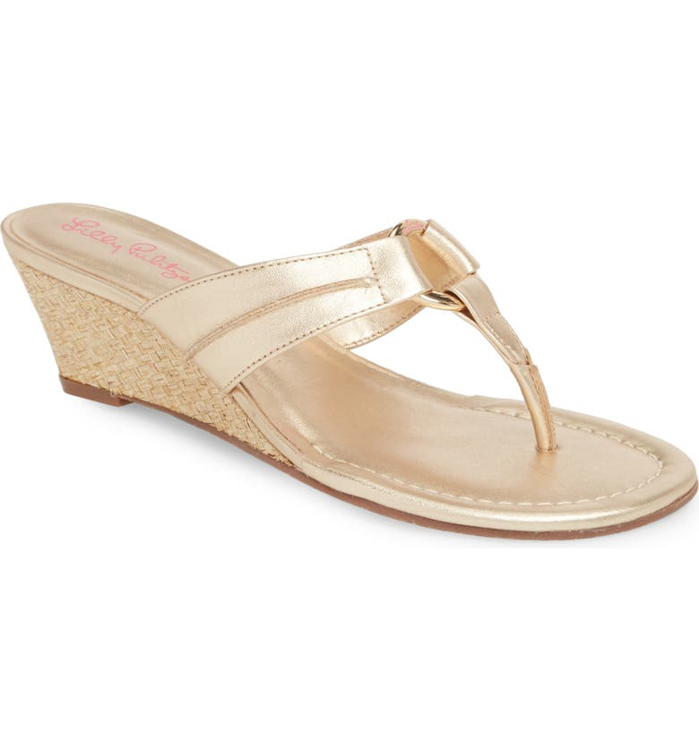 LILLY PULITZER<SUP>®</SUP> McKim Wedge Sandal, Main, color, GOLD METALLIC LEATHER