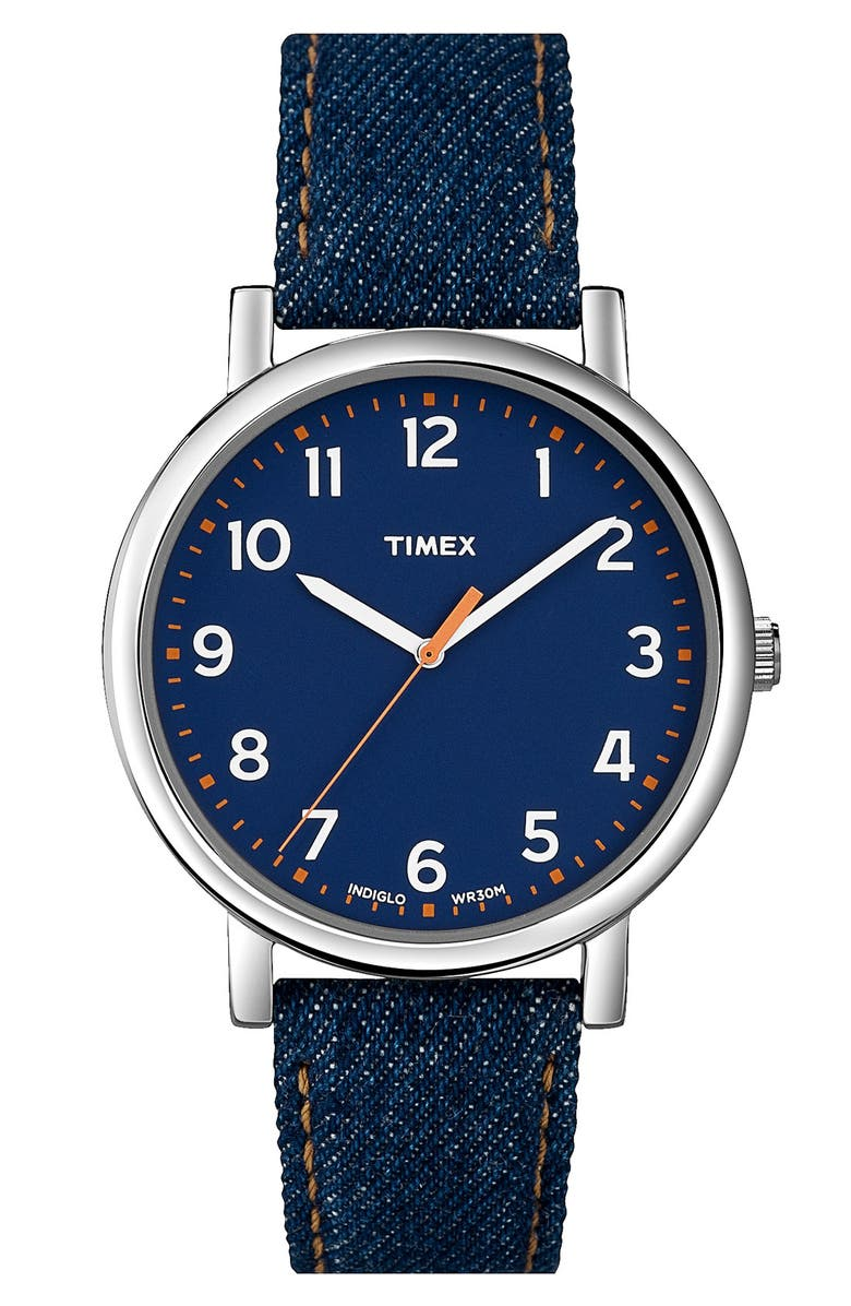 TIMEX<SUP>®</SUP> 'Easy Reader' Leather Strap Watch, Main, color, 401