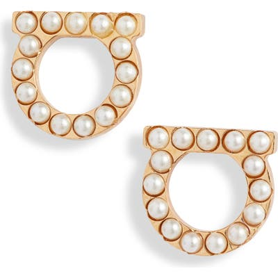 Salvatore Ferragamo Small Gancio Imitation Pearl Stud Earrings