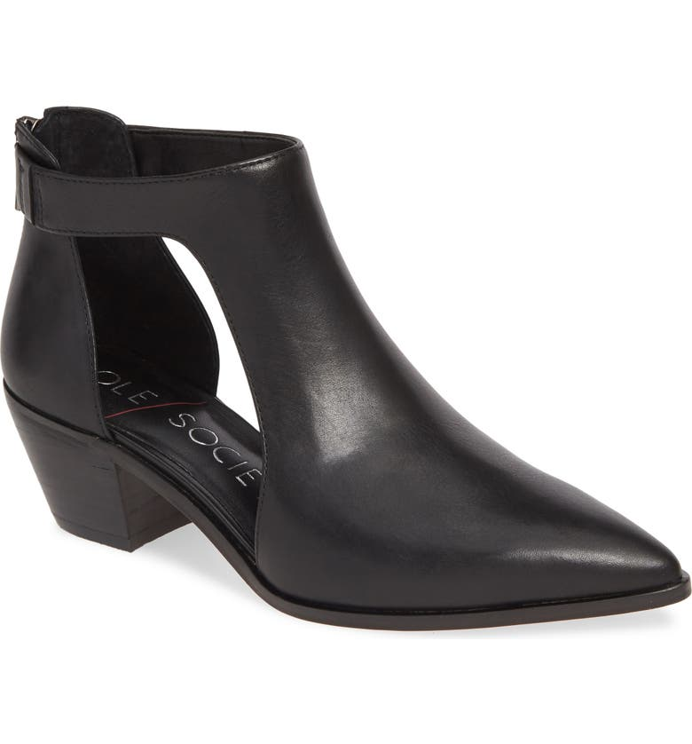 Lanette Pointy Toe Bootie, Main, color, BLACK LEATHER