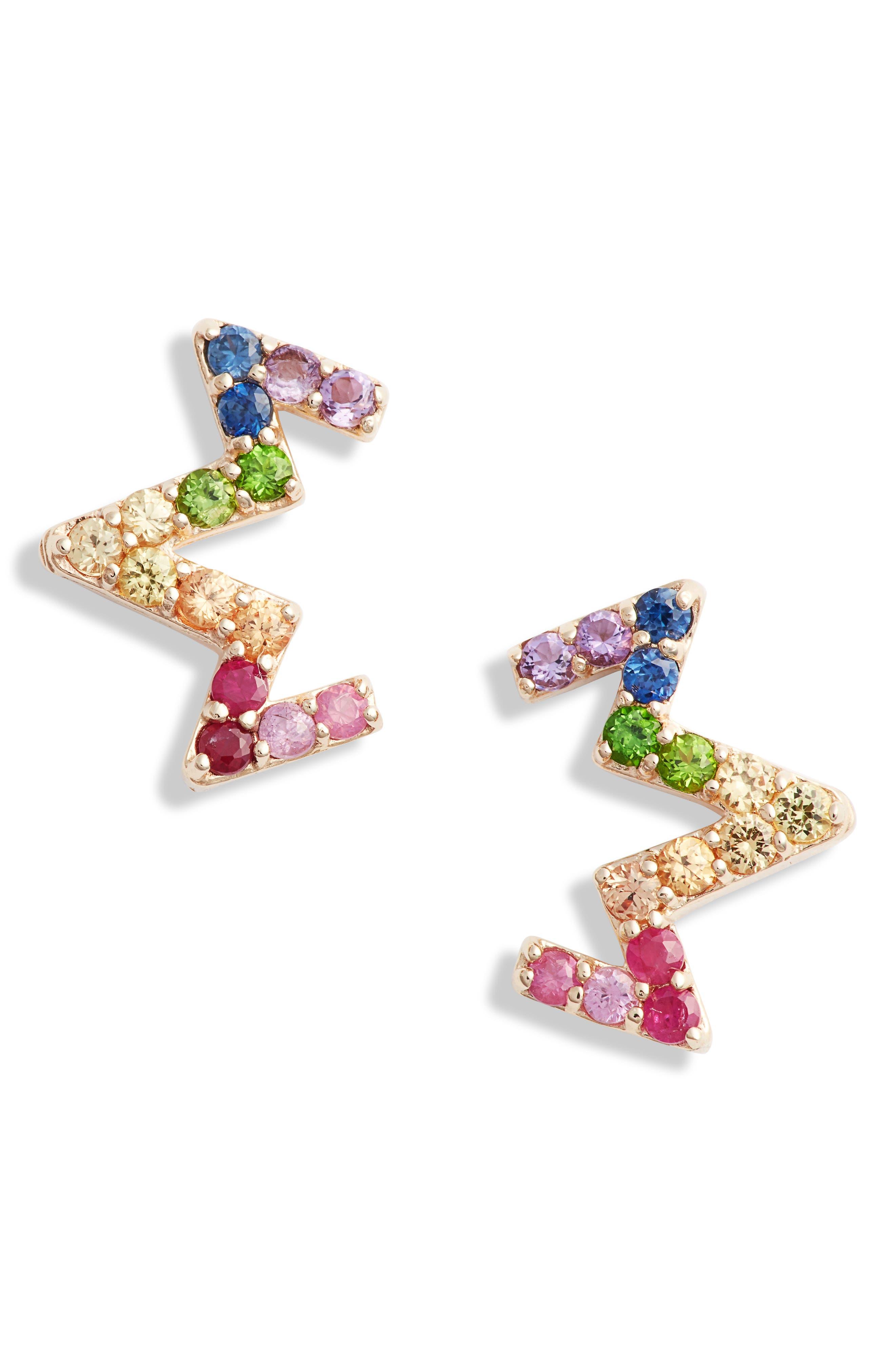 Rainbow Zigzag Stud Earrings