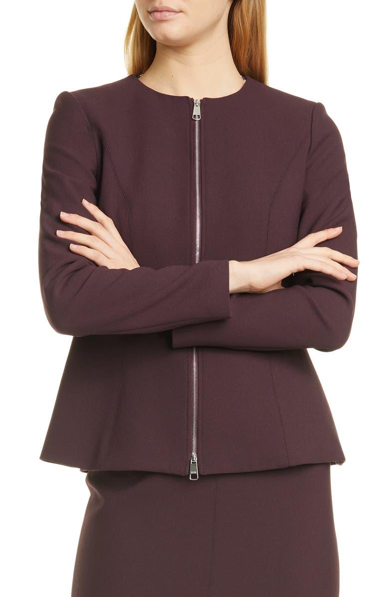 BOSS Jepeplar Zip Front Peplum Jacket, Main, color, 500