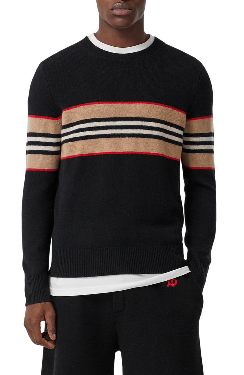 BURBERRY Icon Stripe Cashmere Sweater, Main, color, BLACK