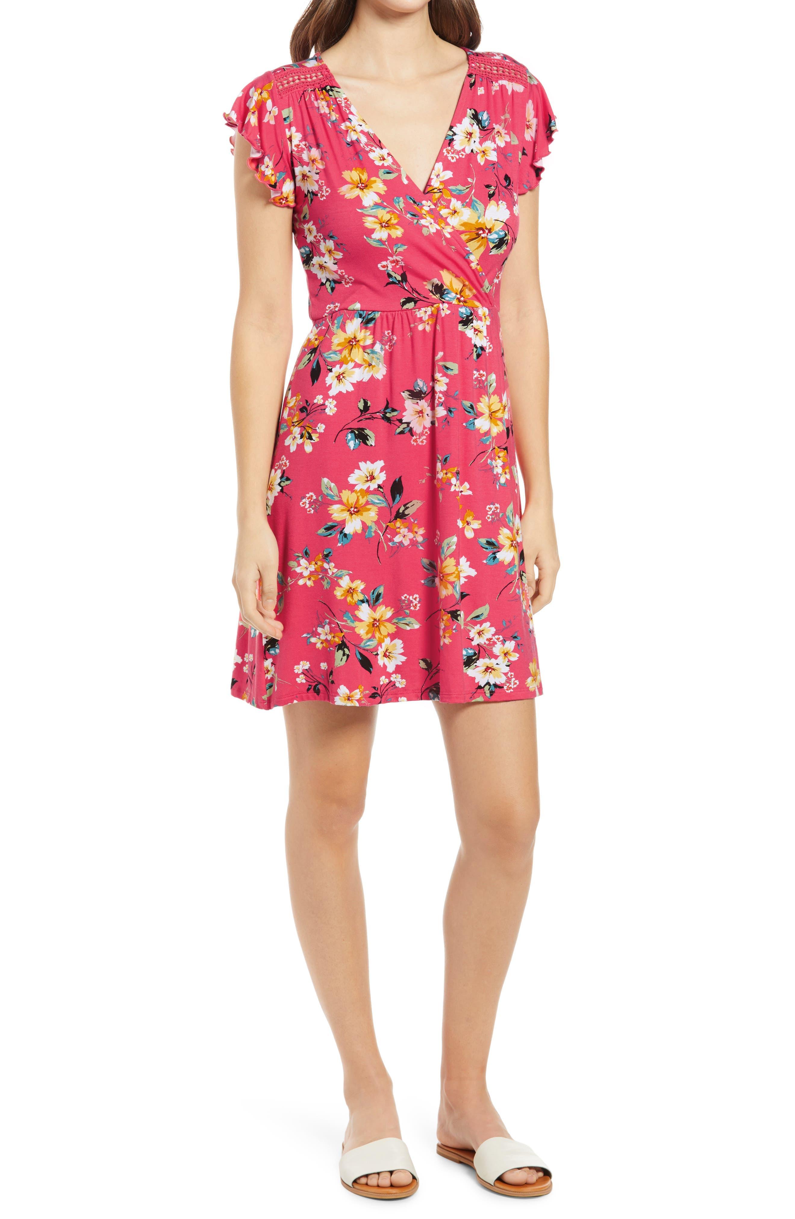 Floral Wrap Front Flutter Sleeve Dress