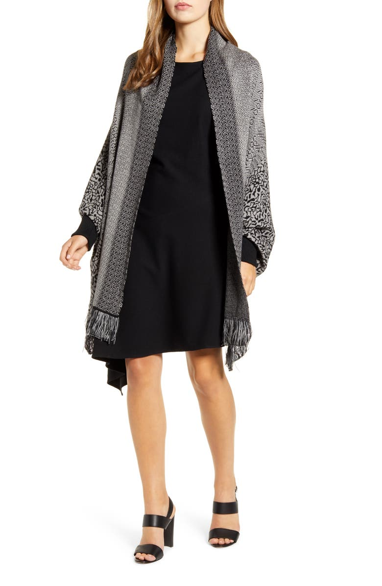 MING WANG Pattern Mix Long Sleeve Wrap Jacket, Main, color, BLACK/ MINERAL GREY